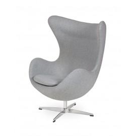 Fotel EGG CLASSIC szary melanż.17 - wełna podstawa aluminiowa