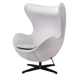Fotel EGG CLASSIC VELVET BLACK jasny szary - welur podstawa czarna