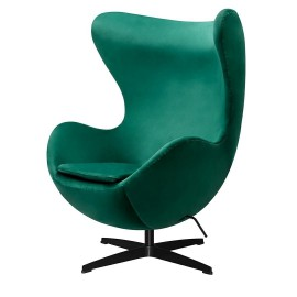 Fotel EGG CLASSIC VELVET BLACK zielony - welur podstawa czarna