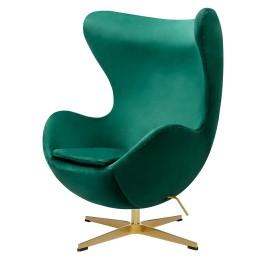 Fotel EGG CLASSIC VELVET GOLD zielony - welur podstawa złota