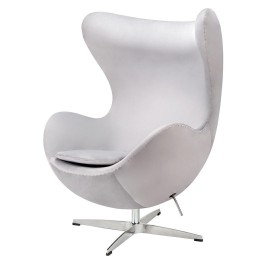 Fotel EGG CLASSIC VELVET jasny szary - welur podstawa aluminiowa