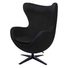 Fotel EGG SZEROKI BLACK czarny.4 - wełna podstawa czarna
