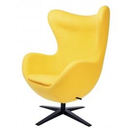 Fotel EGG SZEROKI BLACK żółty.5 - wełna podstawa czarna