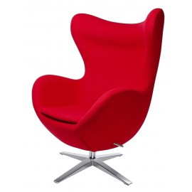 Fotel EGG SZEROKI czerwony.1 - wełna podstawa stal