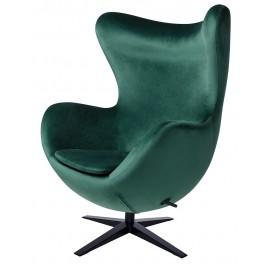 Fotel EGG SZEROKI VELVET BLACK ciemny zielony.18 - welur podstawa czarna