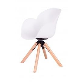 Fotel FLOWER 360 biały - PP/ podstawa drewniana obrotowa