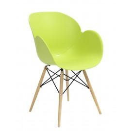Fotel FLOWER DSW PREMIUM zielony - polipropylen podstawa bukowa