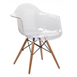 Fotel ICE WOOD transparentny - poliweglan podstawa bukowa