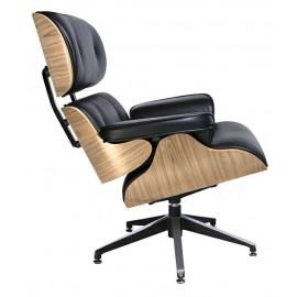 Fotel LOUNGE czarny sklejka jesion - skóra naturalna