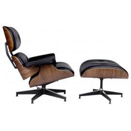 Fotel LOUNGE HM PREMIUM SZEROKI z podnóżkiem czarny - sklejka orzech skóra naturalna