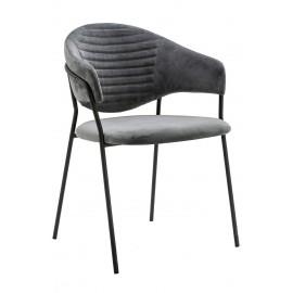 Fotel NAOMI ciemny szary - welur podstawa czarna