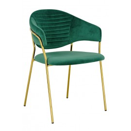 Fotel NAOMI zielony - welur podstawa złota