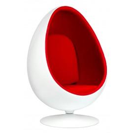 Fotel OVALIA biało-czerwony - włókno szklane wełna