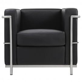 Fotel SOFT LC2 czarny - włoska skóra naturalna chrom