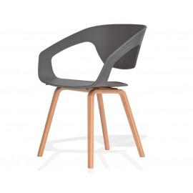 Fotel SORISSO szary - polipropylen podstawa bukowa