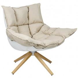 Fotel STAR szary - szara tkanina podstawa drewniana