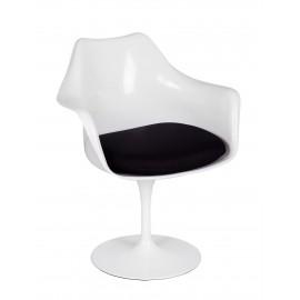 Fotel TULIP biały z czarną poduszką - ABS podstawa metalowa
