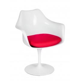 Fotel TULIP biały z czerwoną poduszką - ABS podstawa metalowa