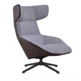 Fotel VITA szary - brąz - tkanina ekoskóra metal