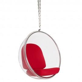 Fotel wiszący BUBBLE poduszka czerwona - korpus akryl poduszka wełna