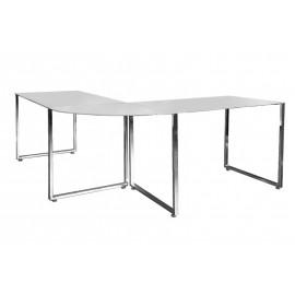INVICTA biurko narożne BIG DEAL białe - szkło metal chromowany