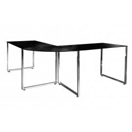 INVICTA biurko narożne BIG DEAL czarne - szkło metal chromowany
