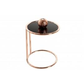 INVICTA stolik ART DECO miedziany - metal szkło
