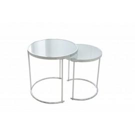 INVICTA zestaw stolików ART DECO chrom - szkło metal
