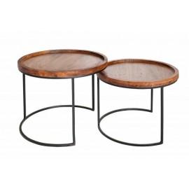 INVICTA zestaw stolików MAKASSAR - lite drewno akacji podstawa metalowa