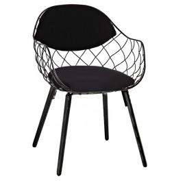 Krzesło DEMON czarne - metal ekoskóra podstawa drewniana