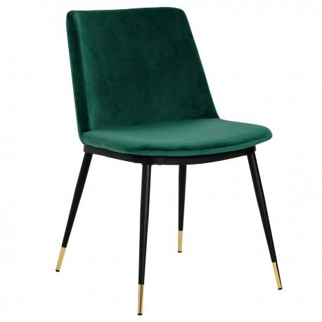 Krzesło DIEGO zielone - welur podstawa czarno złota