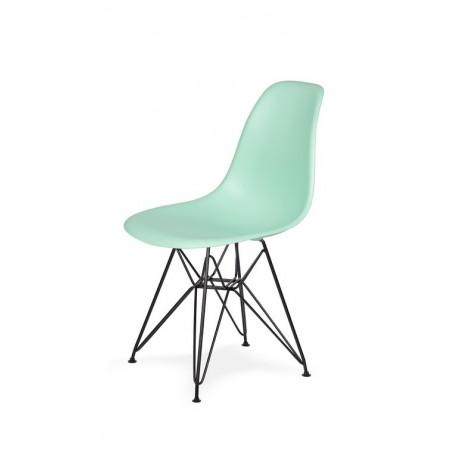 Krzesło DSR BLACK pastelowa mięta.14 - podstawa metalowa czarna