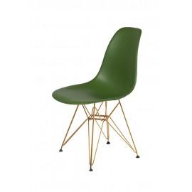 Krzesło DSR GOLD butelkowa zieleń.27 - podstawa metalowa złota