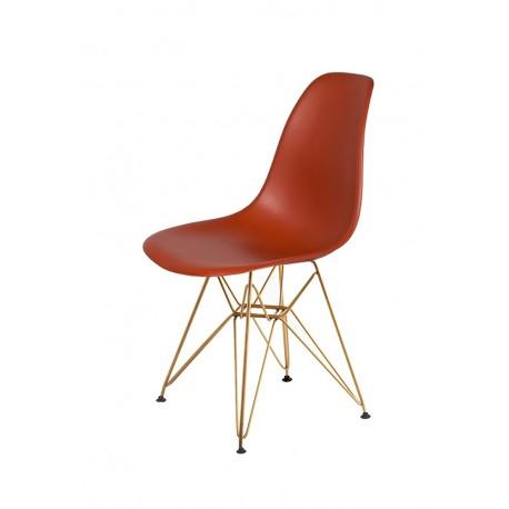 Krzesło DSR GOLD ceglasty.28 - podstawa metalowa złota