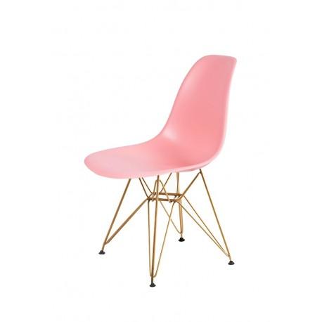 Krzesło DSR GOLD jasna brzoskwinia.34 - podstawa metalowa złota