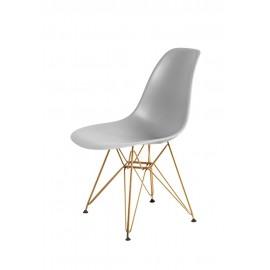 Krzesło DSR GOLD jasny szary.05 - podstawa metalowa złota