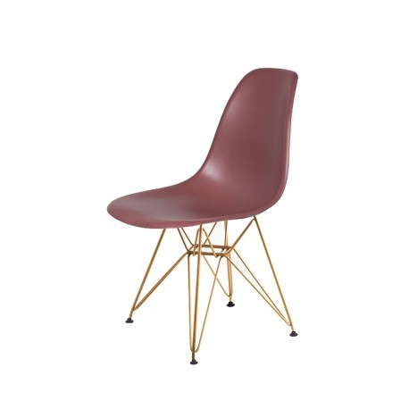 Krzesło DSR GOLD koktajl malinowy.38 - podstawa metalowa złota