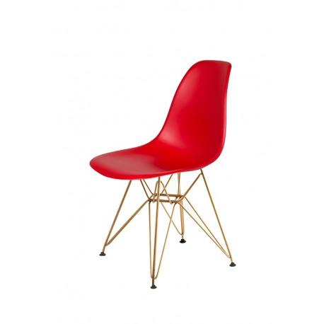 Krzesło DSR GOLD krwista czerwień.06 - podstawa metalowa złota