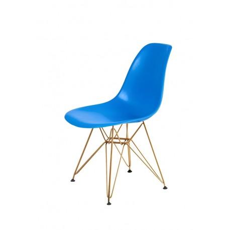 Krzesło DSR GOLD niebieski.11 - podstawa metalowa zlota