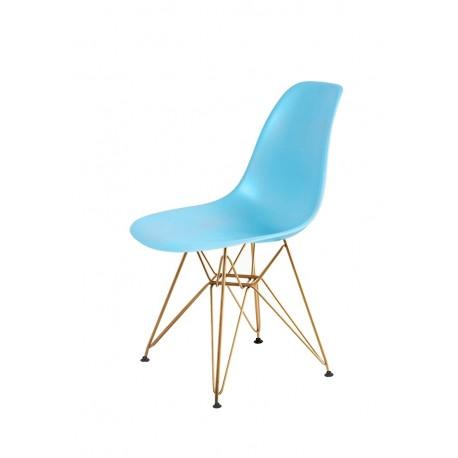 Krzesło DSR GOLD oceaniczny niebieski.25 - podstawa metalowa złota
