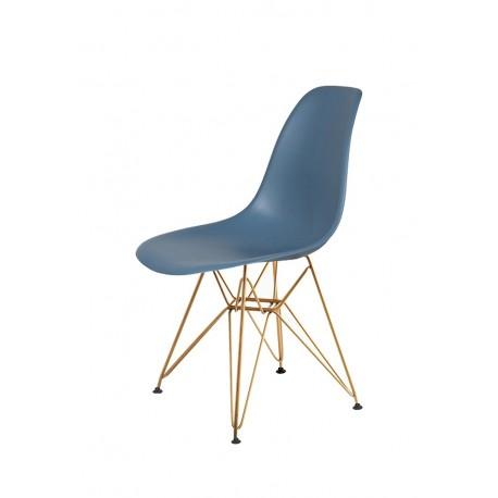 Krzesło DSR GOLD pastelowy niebieski.26 - podstawa metalowa złota