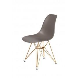 Krzesło DSR GOLD popielaty szary.17 - podstawa metalowa złota