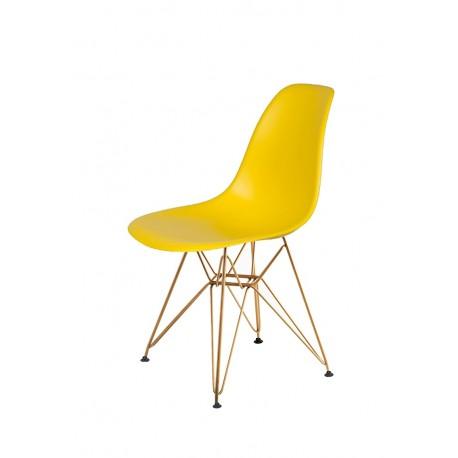 Krzesło DSR GOLD słoneczny żółty.09 - podstawa metalowa złota