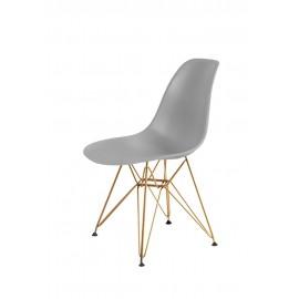 Krzesło DSR GOLD szary.30 - podstawa metalowa złota