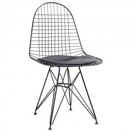 Krzesło DSR NET BLACK czarne - czarna poduszka