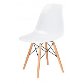 Krzesło DSW GLOSS białe - polipropylen podstawa bukowa