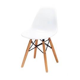 Krzesło dziecięce JUNIOR DSW PREMIUM białe - polipropylen nogi bukowe