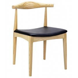 Krzesło ELBOW naturalne - drewno jesion ekoskóra czarna