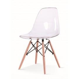 Krzesło ICE WOOD transparentne - poliweglan podstawa bukowa