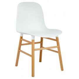 Krzesło IKAR białe - polipropylen drewno bukowe